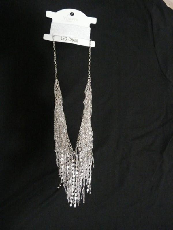 Women's and teen body accessories Silver Bohemia Rhinestones Leg Chain