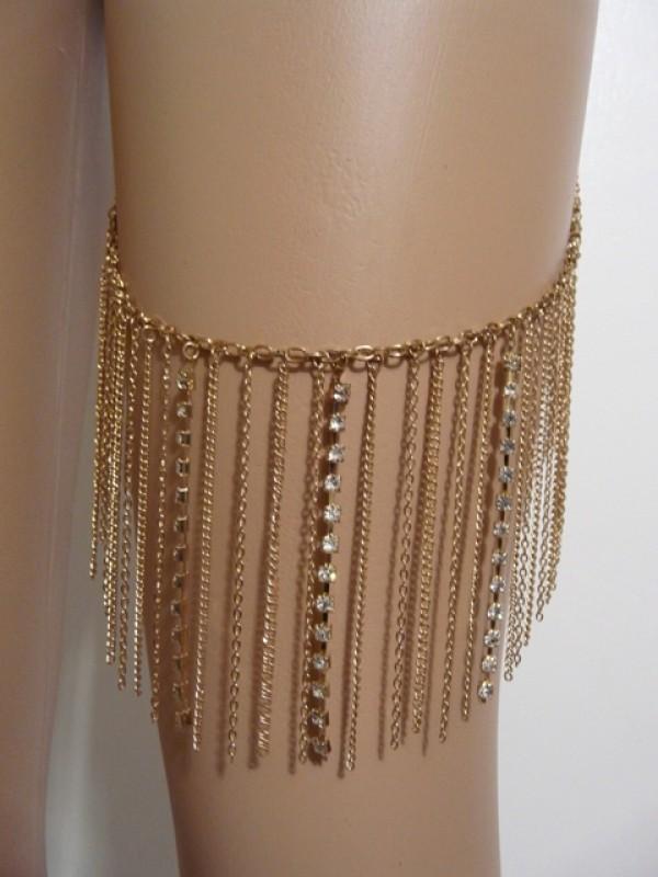 Women's and teen body accessories Gold Bohemia Rhinestones Leg Chain
