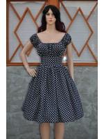 women's dress retro vintage swing style Peasant Dress low shoulder polkadots