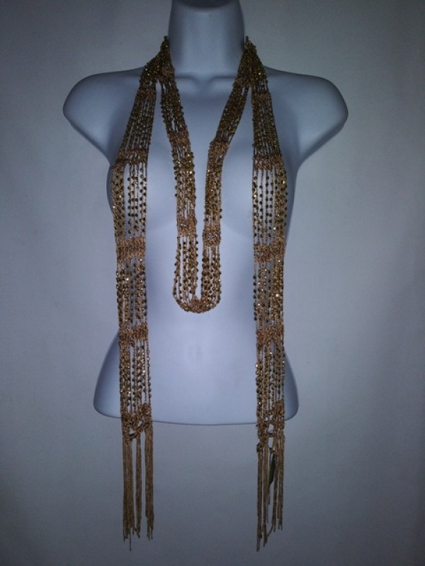 Wrap Shawl Scarf Belt or necklaces  multi wearing Mocha and Gold Beaded BRAND RIKKA