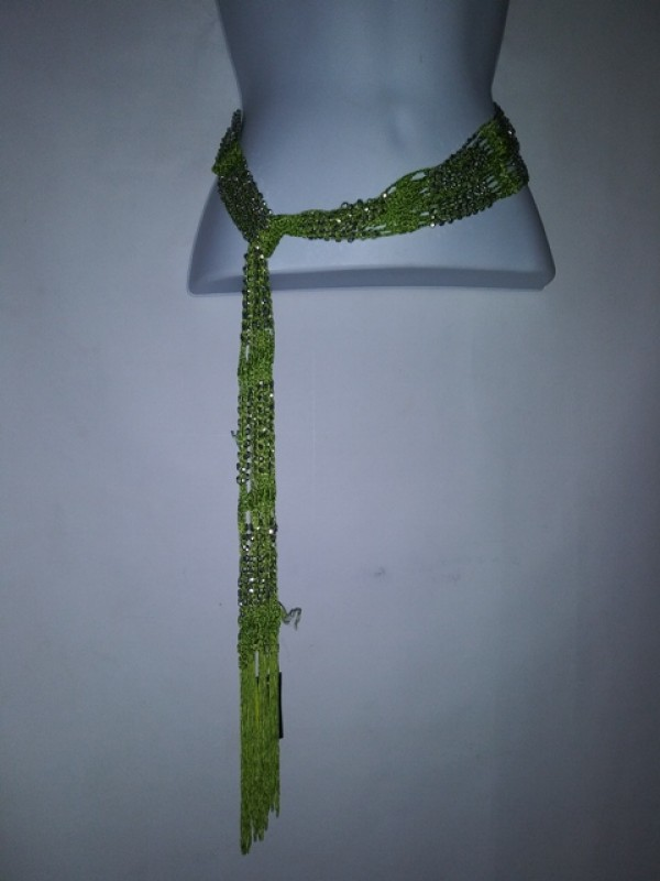 Wrap Shawl Scarf Belt or necklaces  multi wearing Apple Green and Gold Beaded BRAND RIKKA