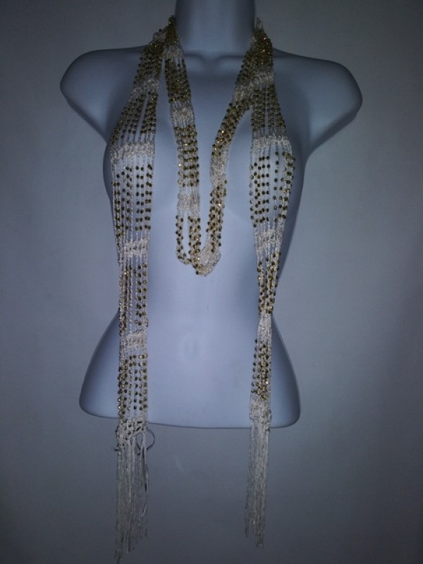 Wrap Shawl Scarf Belt or necklaces  multi wearing Ivory and Gold Beaded BRAND RIKKA