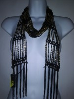 Wrap Shawl Scarf Belt or necklaces  multi wearing Black and Gold Beaded BRAND RIKKA