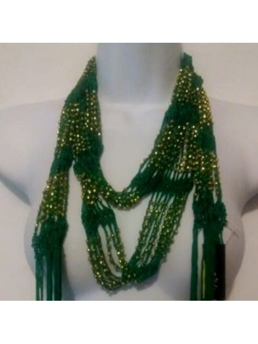 Wrap Shawl Scarf Belt or necklaces  multi wearing K. green and Gold Beaded BRAND RIKKA