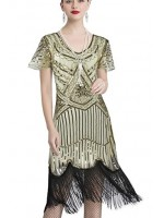 1920's Sequin Paisley Dress Flapper gold size small