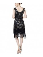 1920's Sequin Women's Elegant Dress BLACK AND GOLD SMALL