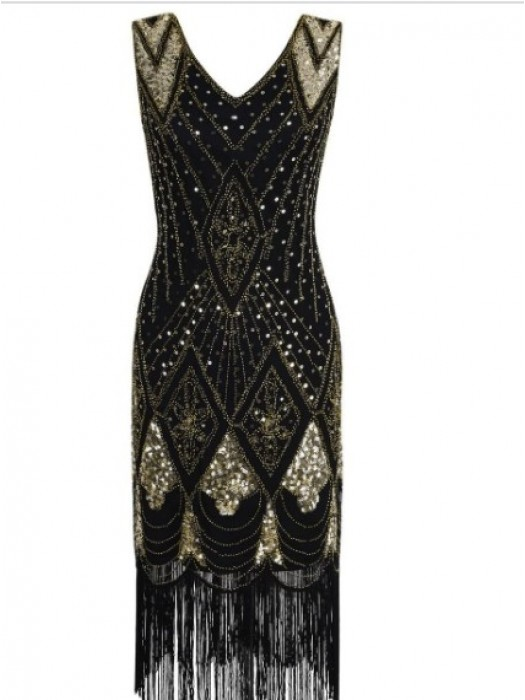 1920's Sequin Women's Elegant Dress BLACK AND GOLD