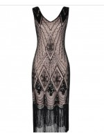 1920's Sequin Women's Elegant Dress BLACK AND BEIGE