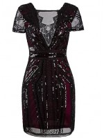 1920's Sequin Paisley Dress Flapper burgundy black