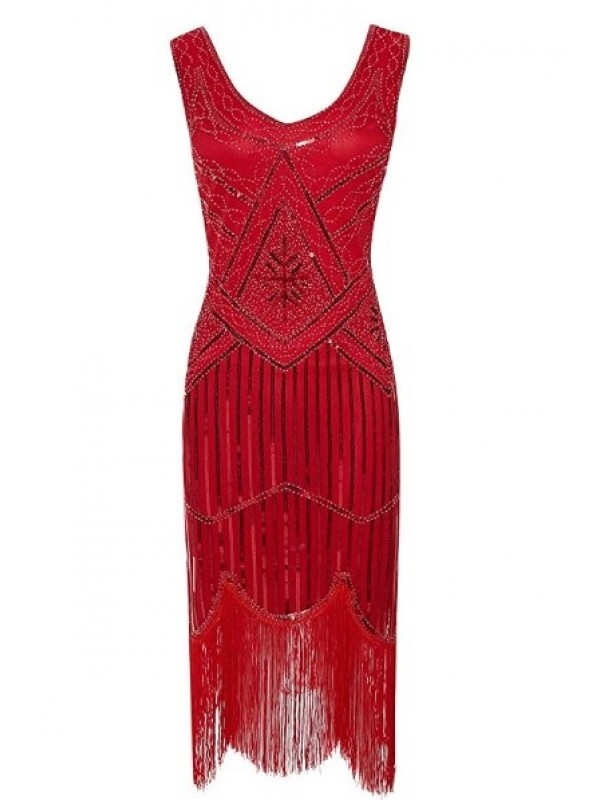 Women's Sequin 1920's Flapper Dress RED SMALL