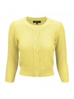 women's Vintage Round Neck Cropped Cardigan Sweater yellow
