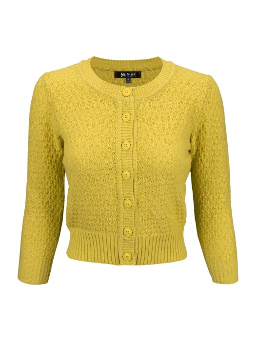 women's Vintage Round Neck Cropped Cardigan Sweater Honey