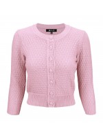 women's Vintage Round Neck Cropped Cardigan Sweater L. Pink