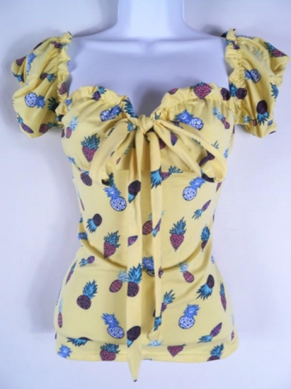 Women's retro vintage Pin Up Low shoulder top