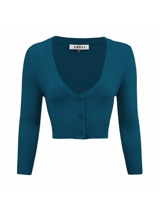 Women's Cropped 3/4 Sleeves Cardigan Sweater