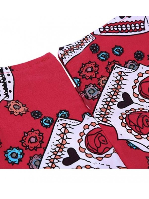 Women's Skull Vintage Floral Swing Dress